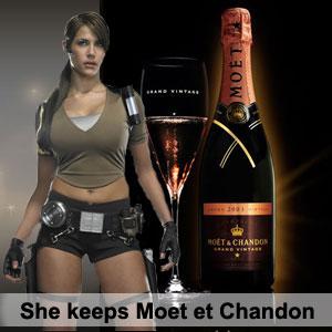 She keeps Moet et Chandon. У нее всегда найдется рюмашка шампусика.