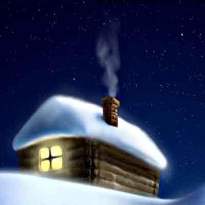 Одинокий домик зимней ночью в лесу.