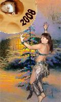 Девушка танцует вокруг елочки в новогоднем лесу под волшебной луной. Не видно картинку? Жмите здесь!